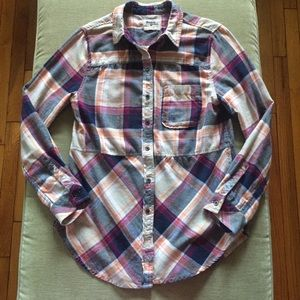 Anthro Holding Horses Seamed Plaid Flannel Tunic